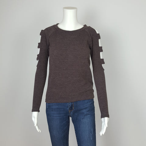 WOMEN'S  COLD SHOULDER LONG SLEEVE CHARCOAL