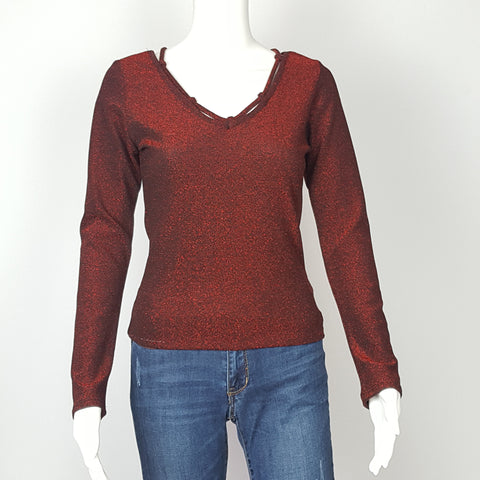 Women's Red Long Sleeve Top