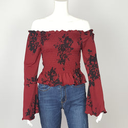 Women's Burgundy Off Shoulder Crop Top with  Bell Sleeve