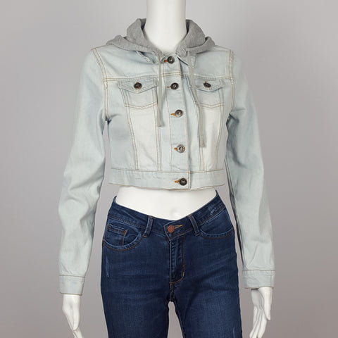 Women`s  Denim Jacket with Hoodie Light blue Cropped Jacket