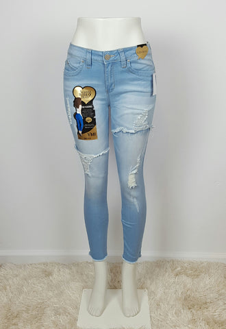 Mid-Rise Distressed Skinny Jeans Light blueHigh Waist Skinny Jeans Distressed .Wanna Betta but?