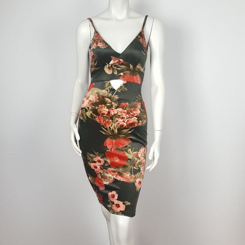 Olive Green Velvet Floral Print Spagety Strap Dress with cut out Belly.