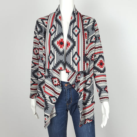 Waterfall Cardigan with Tribal Print
