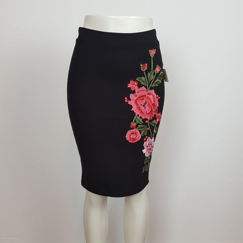 Floral embroiled Black Skirt.