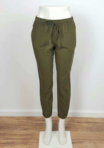 Women's Linen Pants Skinny Olive Green