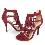 Burgundy Faux Suede Fringe Heels with Back Zipper Closure.