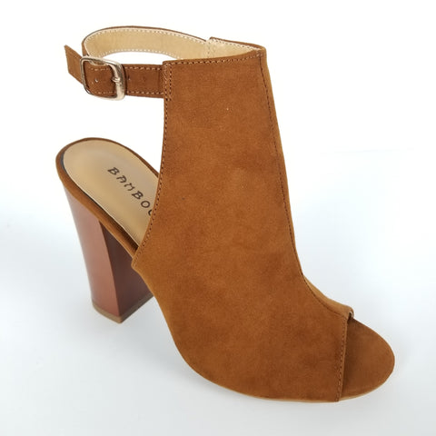 FAUX SUEDE BROWN HIGH HEELS WITH ANKLE STRAP PEEP TOE BOOTIE