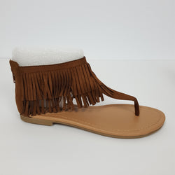 Boho Fringe Sandals Faux Suede With A Zip Closure Flats