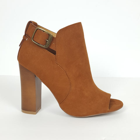 Bamboo Ankle Strapped Tan Peep Toe Booties. Faux Suede Material.