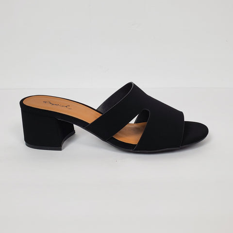 Women's Midterm Open Toe Mules Black Faux Suede