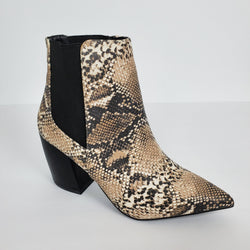 Women's Snake Print Ankle Boot By Qupid