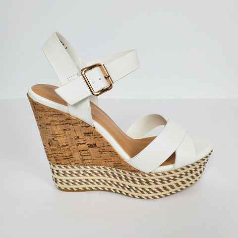 Women's Strappy Open Toe Platform Wedge White High Heels