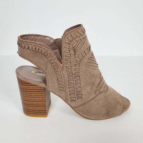 Women's Cut out Faux Suede Ankle  Boots Open Toe
