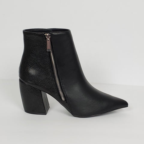 Women's Chunky Heel Bootie Pointed Toe Black