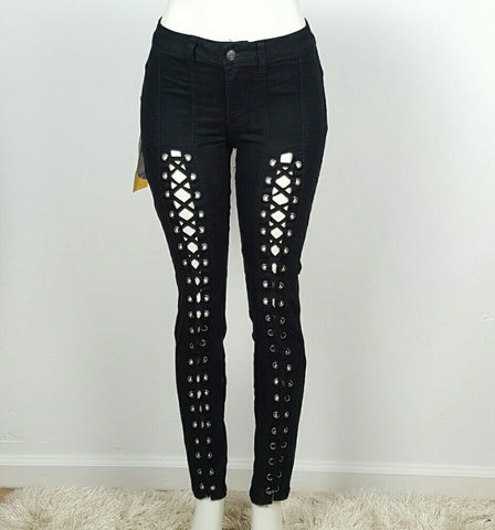 Women's Skinny Jeans Black Lace Up Cut Out