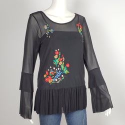 Women's Floral Embroidered Bell Sleeve Top