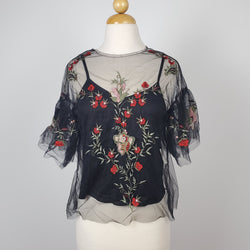 Women's embroidered mesh top with  ruffled sleeve