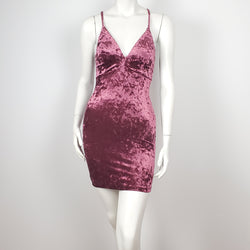Women's Deep V-Neck Mini Dress Velvet Color Pink