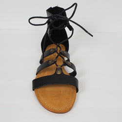 Black Gladiator Sandals Tie Up