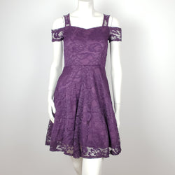 Purple Laced Party Dress Cold Shoulder