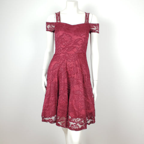 Burgundy Laced Dress Cold Shoulder
