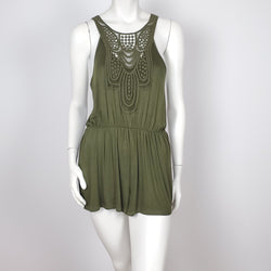 Women's Jumpsuit Casual Loose sleeve less Tie Back Olive Green Romper