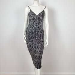 Sleeveless Midi Dress - Black/Silver Sheath Dress with Spaghetti Strap and Open Back.