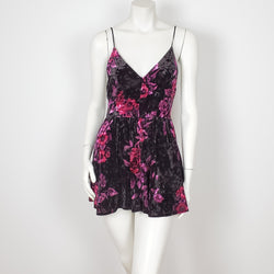Floral Print Jumper with Spaghetti Straps and Open Back.