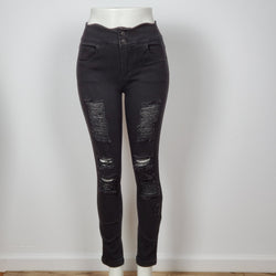 Women's High Rise Distressed Skinny Jeans  Black Jeans