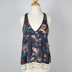 Women's Tie Back V Neck Cami Tank Top Blue