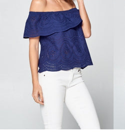 Women's Off Shoulder Top Navy Blue