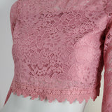 Women's Crop Top Pink Bell Sleeve