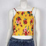 Ambiance Women's Tank Top Yellow Floral Print Crop Top