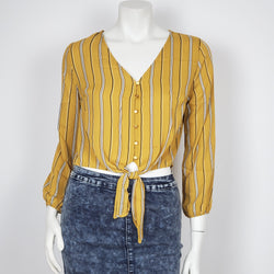 Women's Blouse Button Down  Tie Front Mustard Crop Top