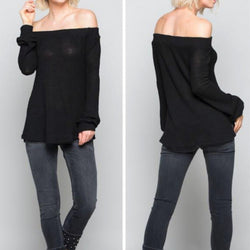 Black Waffe Knit Off Shoulder Top