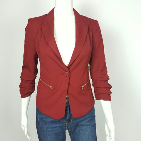 Single Buttoned Mesh-Paneled Blazer By Love Tree