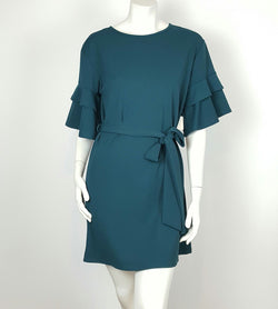 Women`s Lace up Waist Slip Dress. Teal Blouse.