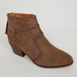 Women's Faux Suede Zipper Ankle Boots Camel  By Qupid