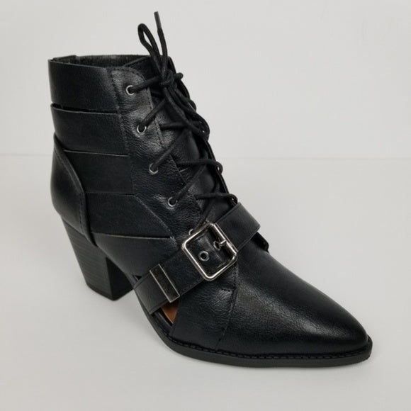 Lace Up Pointed Toe Cut Out Black Ankle Boot