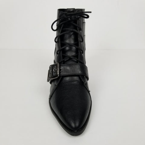 Lace Up Pointed Toe Cut Out Black Ankle