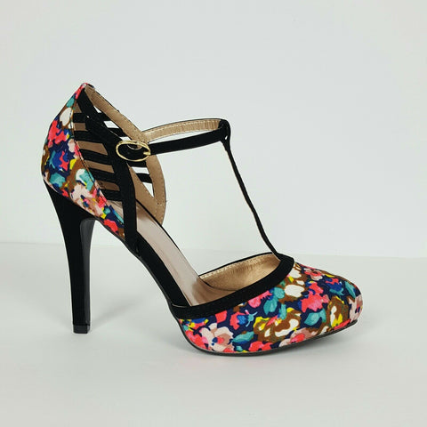 Women's High Heels Flower Print By Qupid
