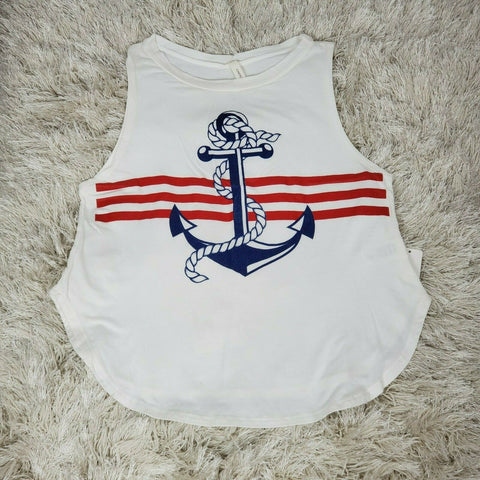 Women's Tank Top White Anchor Print