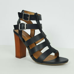 Black Faux Leather Multi Strap Chunky Heels By Bamboo