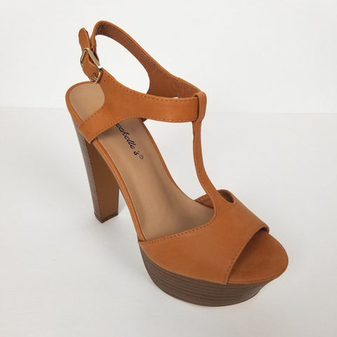 Women's Tan High Heels With Ankle Strap And  Wooded Platform by Breckelle's