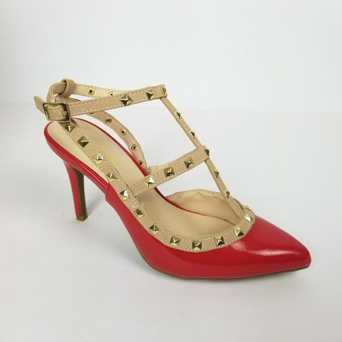 Red Studded High Heels Ankle Strapped Shoe.