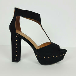 Bamboo Black Faux Suede Studded High Heel Pee Toe with Ankle Strap and Back Zip up Closure.