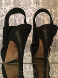 Vince Camuto Black Leather Ballerina Style Stiletto with Strap Women's Size 8.5