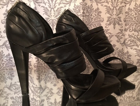 Jessica Simpson Sexy Black Leather Strappy Sandals With Back Zipper Women's Size 8.5