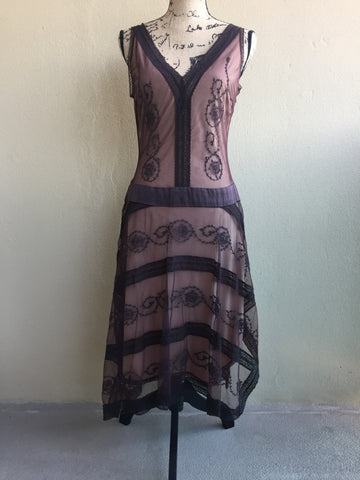 BCBG Beautiful Vintage Style Brown Lace Overlay Dress With Feminine Fairy Skirt Women's Size 8 NWOT