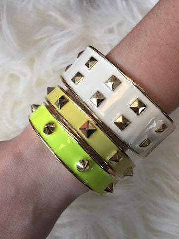 S O N I A • BRACELET ~ Sexy Neon Yellow With Round Gold Studs